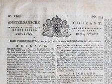 """Antike Zeitung von 1802 """"AMSTERDAMSCHE COURANT"""" Amsterdam/Niederlande/Holland"""