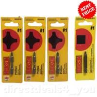(New) Hanson Square Recess Power Bit, #1 Phillips Insert Bits Pack of 4
