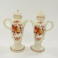 Vintage Salt Pepper Shakers Painted Pitcher Floral Red Japan Screw Tops   INV142