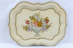 LARGE VINTAGE TOLEWARE HAND PAINTED SIGNED TRAY