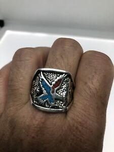 Vintage Turquoise Eagle Ring Southwestern Inlay Size 9