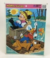 Golden Frame Tray Puzzle Disney Mickey Donald and Pluto Fishing Vintage 1990