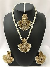 Bollywood Indian Wedding Gold Tone and Pearl Jewellery Set