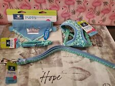 Set 4 Dog Harness, Collar, Leash!  Blue White  Comfort Top Paw XSmall Puppy Pet