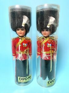 """Pair of Vintage EXPO86 British Royal Guard Soldier Celluloid Dolls Eyes Blink 8"""""""
