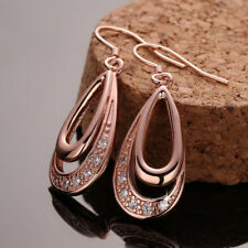 Wholesale 18k Rose Gold Filled Clear Zirconia Crystal Tear Drop Dangly Earrings