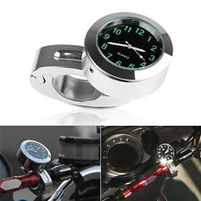 "7/8"" Motorcycle Bike Chrome Dial Handlebar Clock Watch For Harley Honda Yamaha"