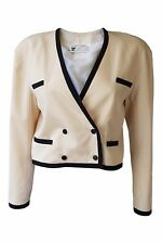 *COURREGES* VINTAGE WOOL BLEND CREAM DOUBLE BREASTED CROPPED JACKET (0)
