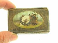 """ANTIQUE STERLING SILVER HAND PAINTED ENAMELED """"MUSIC BAND"""" SNUFF BOX - VERY RARE"""