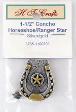 "1-1/2""  Horseshoe w/Ranger Star Concho - Antique Silver & Gold Plate - Screwback"