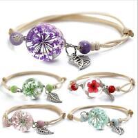 Handmade Real Dry Pink Flower Adjustable Leather Bracelet, Flower Bracelets