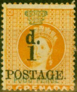 Grenada 1886 1d on 4d Orange SG39 Fine Mtd Mint