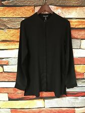 $248 NWT EILEEN FISHER BLACK SILK CREPE DE CHINE MANDARIN COLLAR SHIRT XXS