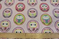 Framed Girly Owls Toss Allover Pink Cotton Flannel Fabric BTY