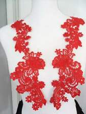 """Embroidered Lace Appliques Red Floral Venice Lace Mirror Pair 14"""" (DH81X)"""