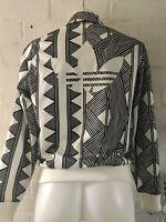 RARE Women's Adidas Originals Track Top Size 12 Aztec Print Casual Jacket White