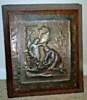 Antique Heavy Oak Panel with Hammered & Pressed Copper Scenery of Two Figures