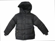 Boys School Jacket Winter Padded Navy Black Fur Hooded New Coat Size 3-14 Years