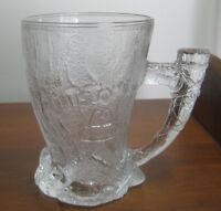 "Vintage 1993 4.5"" McDonalds Flintstones Glass Mammoth Mug w/Handle, Made France"