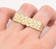 Men's Rectangular Nugget Diamond Cut Two Finger Ring Real 10K Yellow Gold S-11
