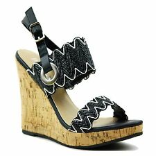 Womens Cork Wedge Platform High Heels Woven Summer Color Ankle Strap Sandals