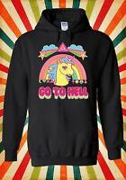 Rainbow Unicorn Go To Hell Cartoon Men Women Unisex Top Hoodie Sweatshirt 1575