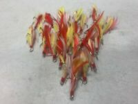 25 Dressed Treble Hooks with Yellow Hair and Red Feather  * Hook size #6*