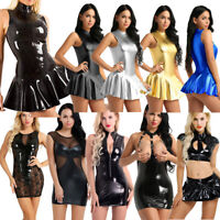 Plus Size Women Ladies PU Leather Bodycon Short Mini Dress Wet Look Clubwear HOT