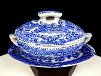 """JAPANESE PORCELAIN BLUE WILLOW TRANSFERWARE 4 1/8"""" CHILDS TUREEN & UNDERPLATE"""