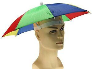 Umbrella Hat Rain Raining Dry Cover Heat Adjustable Colorful Rainbow Folding Cap