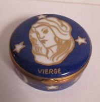 Hand Painted Liimoges Virgo Zodiac Trinket Box Rochard FRANCE Vierge