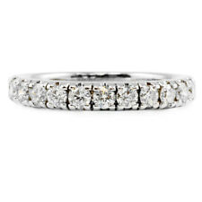 14k White Gold Round Brilliant Diamond Band Ring Wedding Anniversary .52TCW 3.3g
