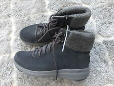 Skechers Glacial Ultra Suede Lace Up Boots & side zip SIZE 6 charcoal Grey