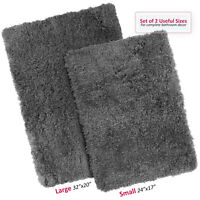 2PC Shaggy Area Rug Set with Non-Slip Backing Rubber Large & Small Cozy Bath Mat