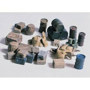 Woodland Scenics D203 HO-Scale KIT Oil Drums, Crates, Barrels, Feed Sacks Etc.