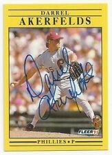 Autograph Signed 1991 Fleer 386 Darrel Akerfelds Philadelphia Phillies Deceased