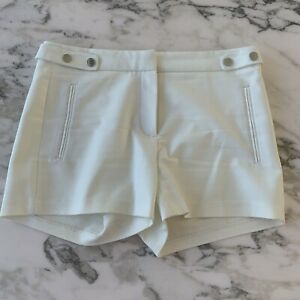 Zara Basic Dress Shorts Size S White Snap Button Cotton Blend