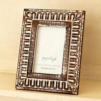 Fair Trade Antique White Hand Carved Photo Frame, Shabby Chic, Distressed Style