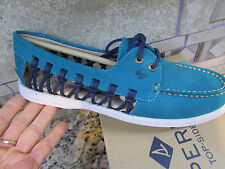 NEW SPERRY A/O HAVEN LEATHER BOAT SHOES LOAFERS WOMENS 7.5 TEAL FREE SHIP