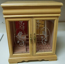 Large Wood and Glass Jewelry Box Light Wood Glass Front Doors