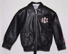 OCC Orange County Choppers Black Faux Leather Biker Jacket American Flag Size 7