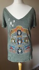 Next Ladies Guns And Roses T-shirt Top size 6 Green Faded look