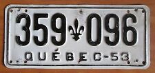 Quebec 1953 License Plate # 359-096