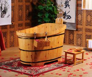 IN STOCK, 1500mm Wooden Bath Tub, Cedar Wood Freestanding Natural Bath Tub