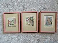 3 Vintage Framed, Matted Prints   c. 1922   Pink Painted Metal   Red Riding Hood