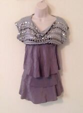 Woman's Scoop Neck Dress Size Xxs By Bcbg Silver Gray Silk