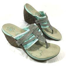 New CUSHE Entwine Wedge Thong sandals heels Gray Aqua blue Sz 8