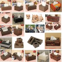 Leather Wood Tissue Box Napkin Cover Home Hotel Pub Cafe Car Paper Holder Case