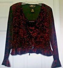 R&K Evening Black Velvet Red Glitter Tank Top Ruffled Jacket Formal Set Size 12