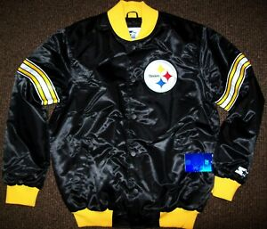 PITTSBURGH STEELERS STARTER Snap Down Jacket BLACK   M  XL